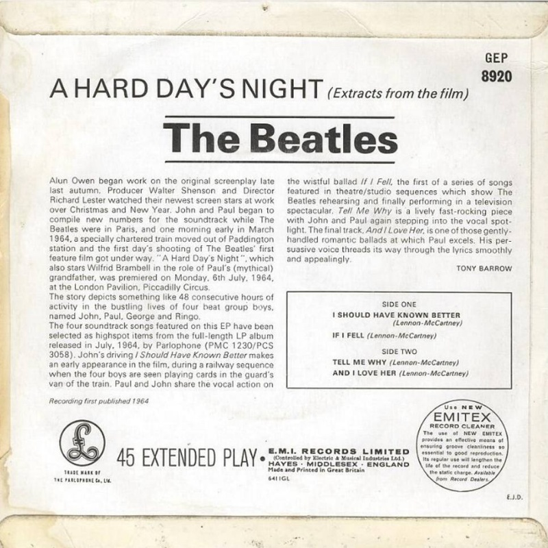 EP Extracts From The Film A Hard Day's Night / 1964