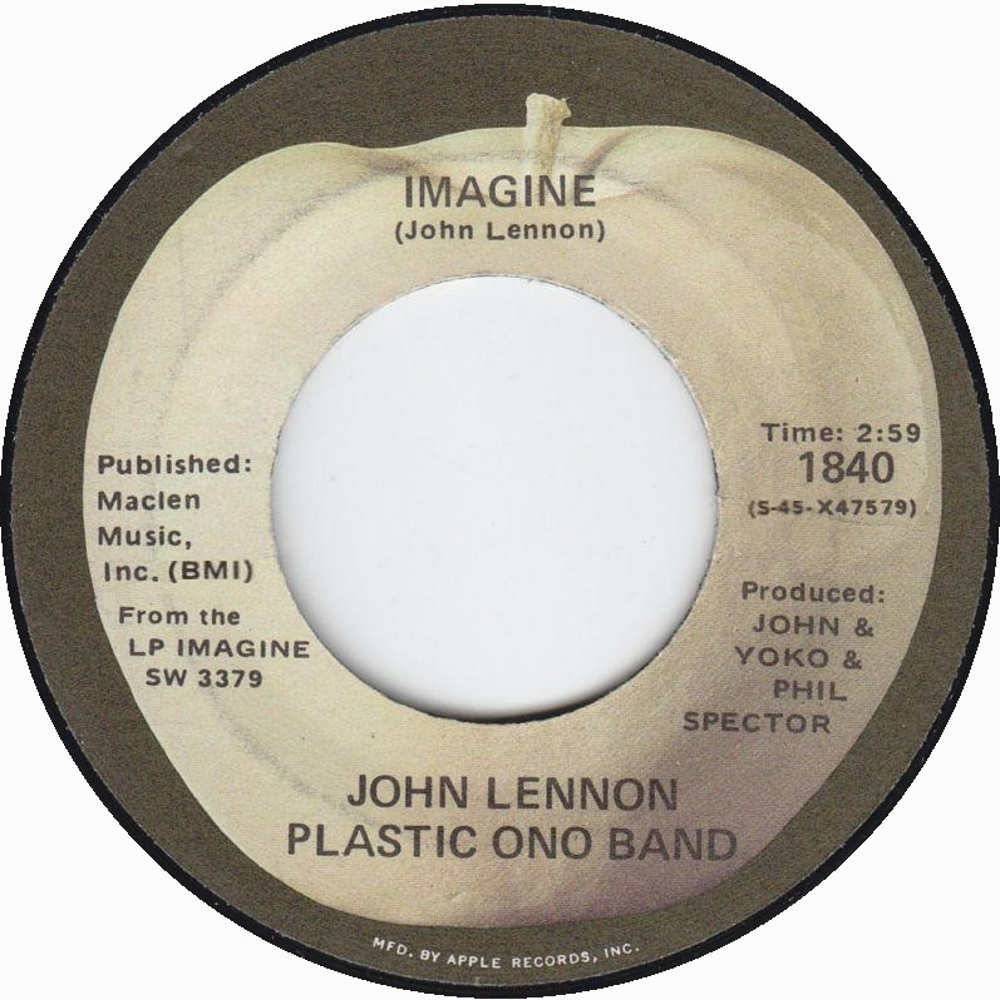 John Lennon Plastic Ono Band - Imagine / It's So Hard (Apple, USA) 1971