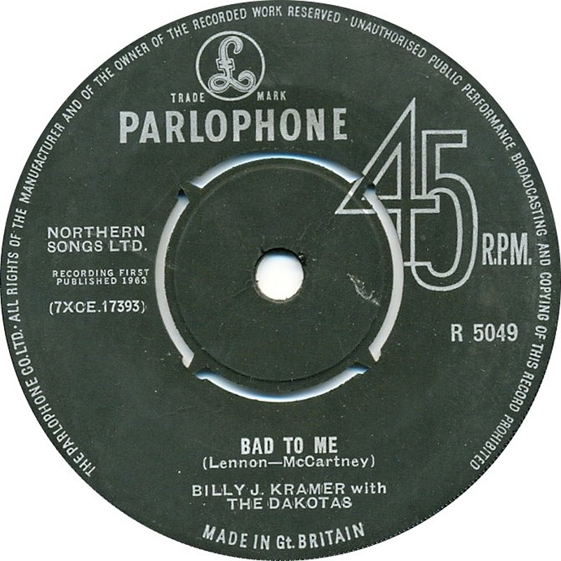 Billy J. Kramer With The Dakotas / Bad To Me