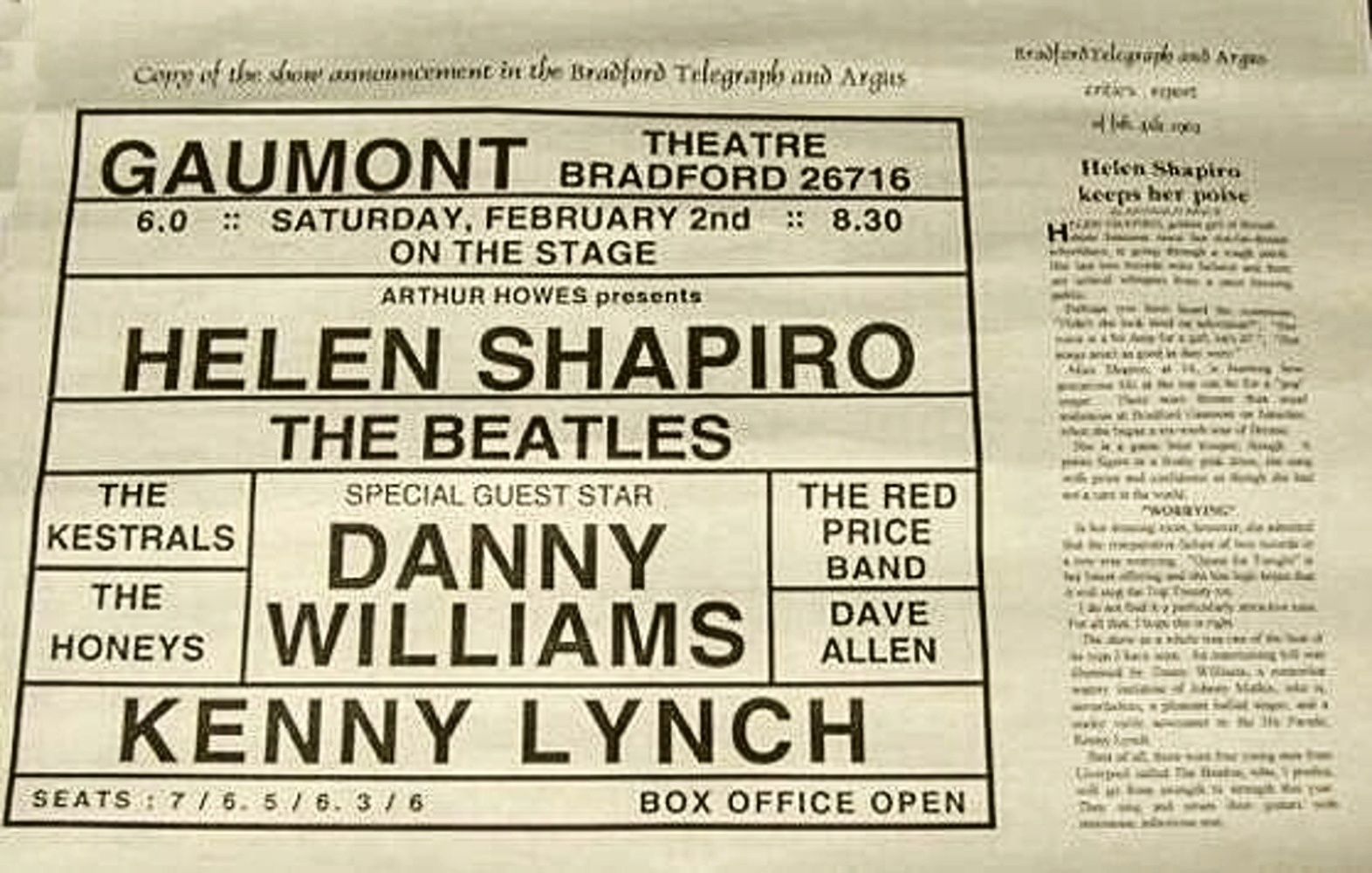 Advertising Flyer for The Gaumont Bradford, 1963