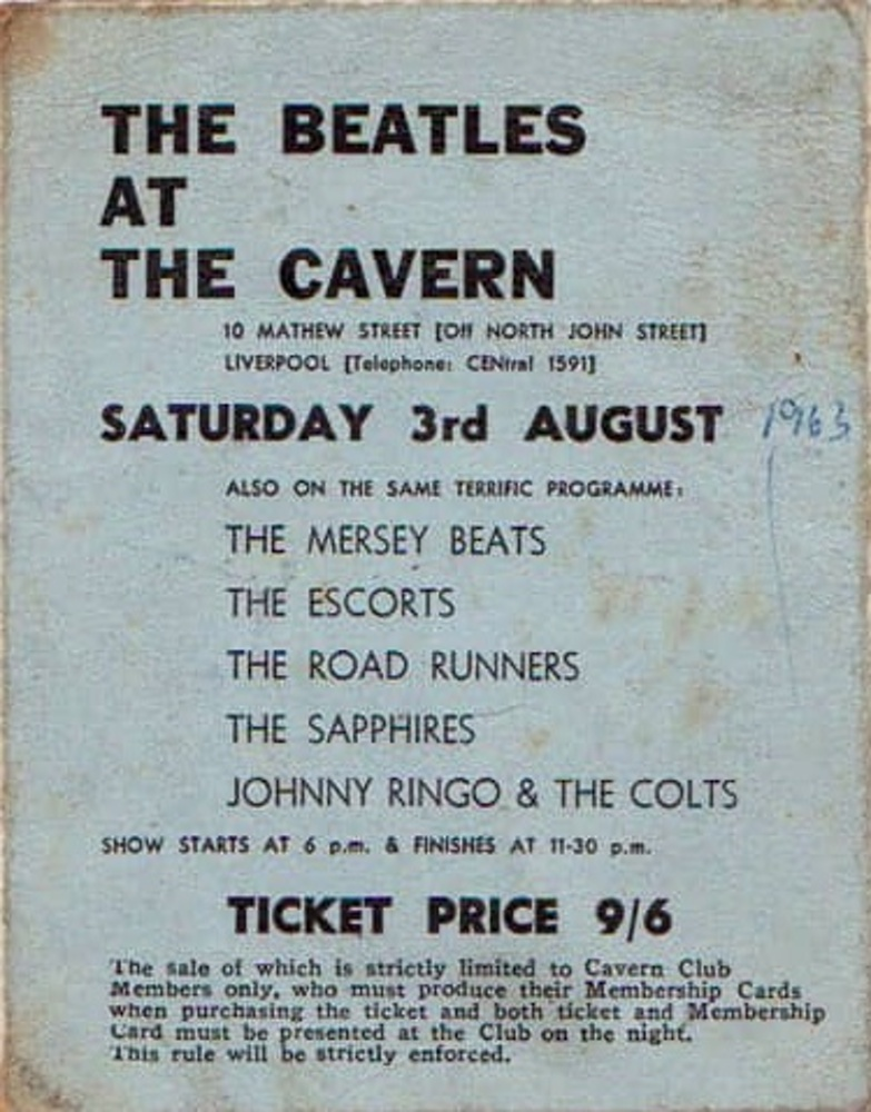 Ticket for The Beatles' final Cavern Club show / 3 August 1963