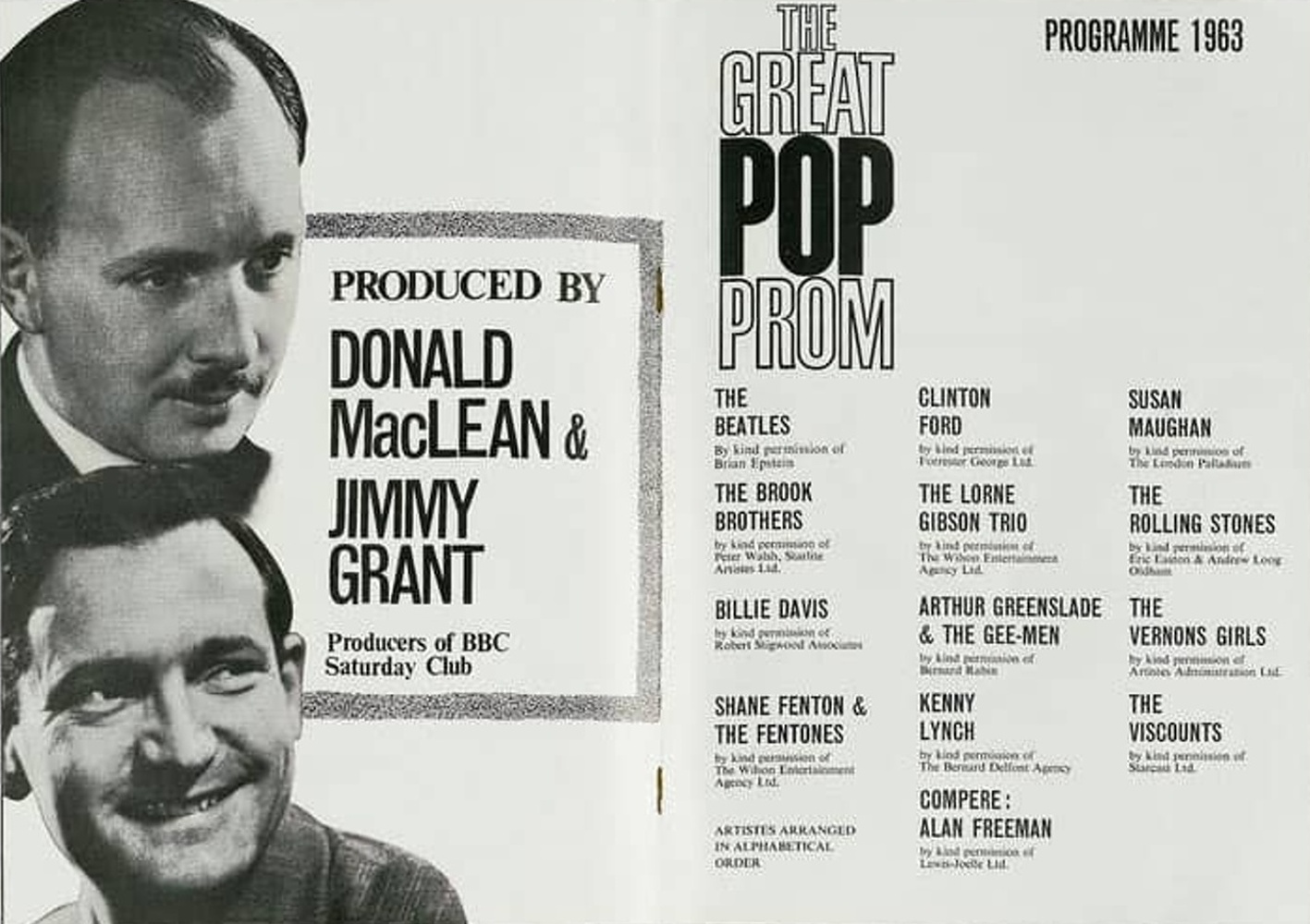 Poster of Great Pop Prom at London's Royal Albert Hall / 15.09.1963