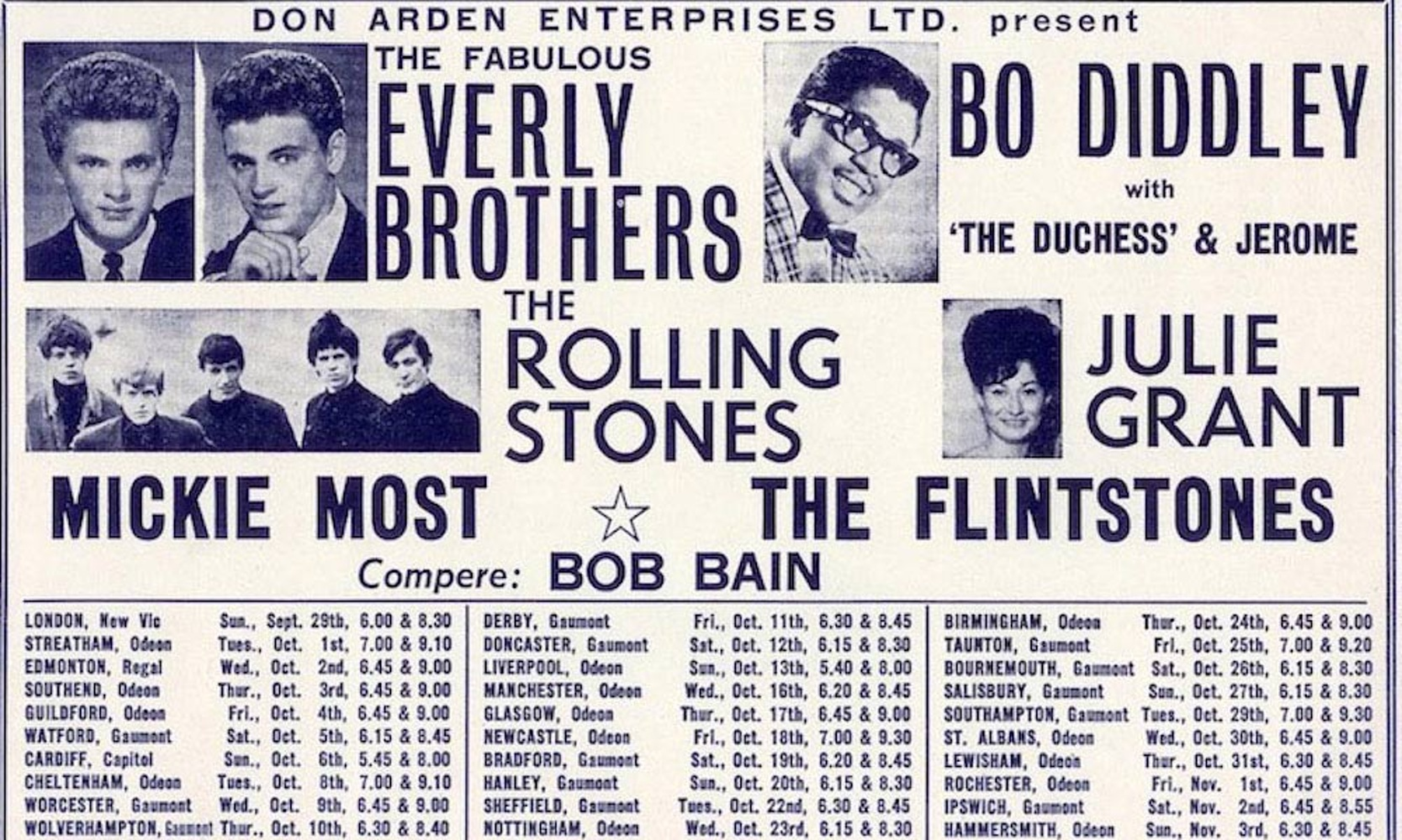 Poster of The Rolling Stones' First Tour / сентябрь 1963