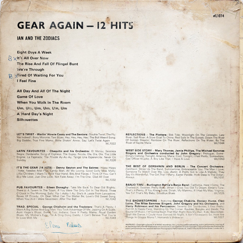 Ian And The Zodiacs - GEAR AGAIN - 12 HITS (1965)