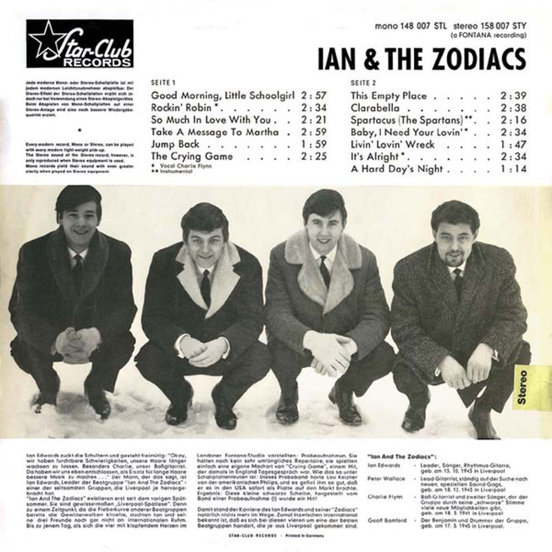 STAR-CLUB SHOW 7 by Ian And The Zodiacs (Star-Club Records) 1965