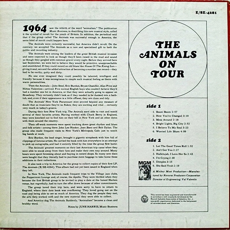 THE ANIMALS ON TOUR by The Animals (1965) MGM (USA)