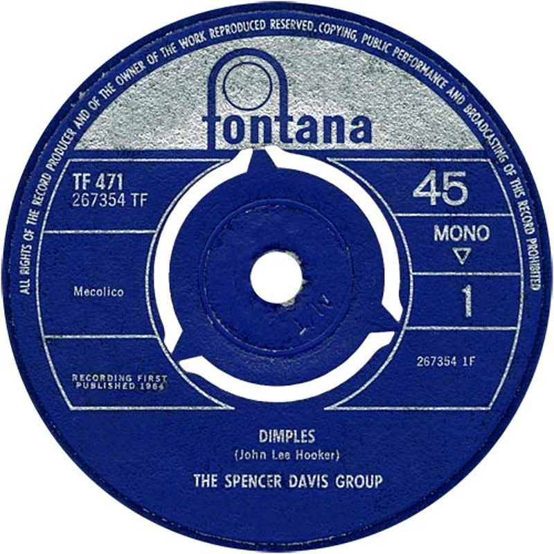 The Spencer Davis Group - Dimples / Sittin' And Thinkin' (Fontana) 1964