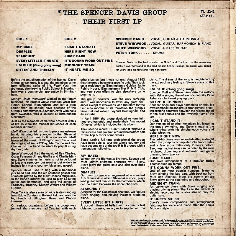 The Spencer Davis Group - THEIR FIRST LP / 1965