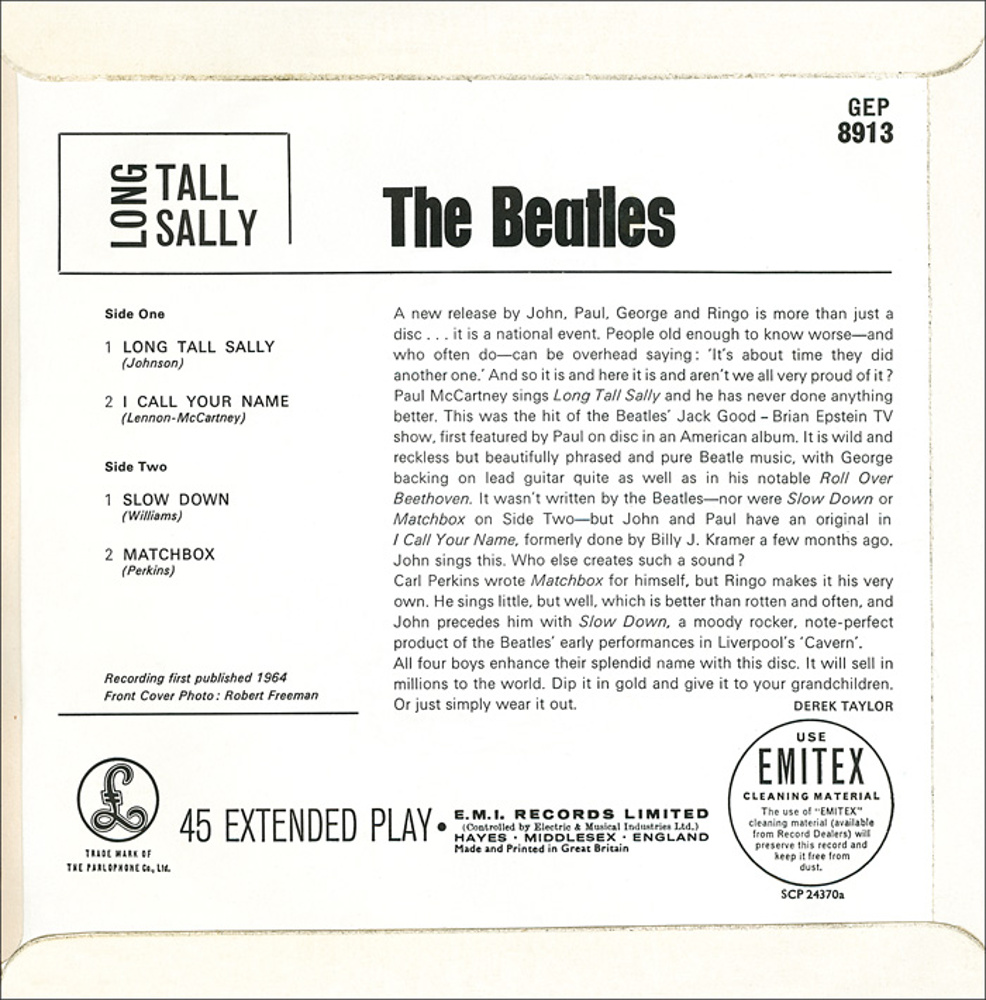 The Beatles - LONG TALL SALLY (UK/Parlophone) 1964