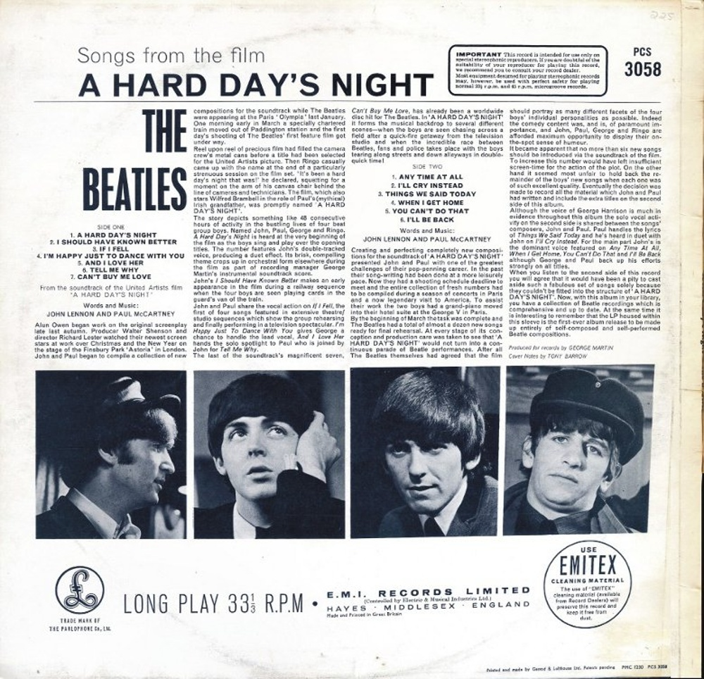 The Beatles - A HARD DAY'S NIGHT (UK/Parlophone) 1964