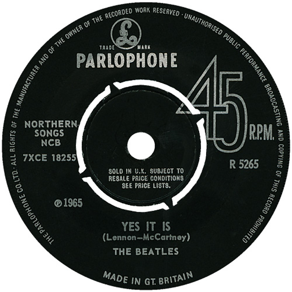 The Beatles - Ticket To Ride / Yes It Is (UK/Parlophone) 1965