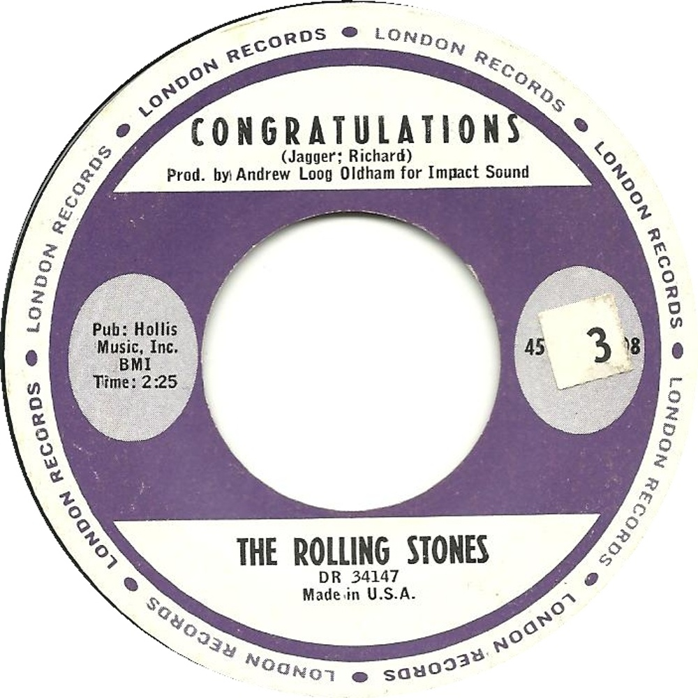 The Rolling Stones -Time Is On My Side / Congratulations (1964/09/25) London