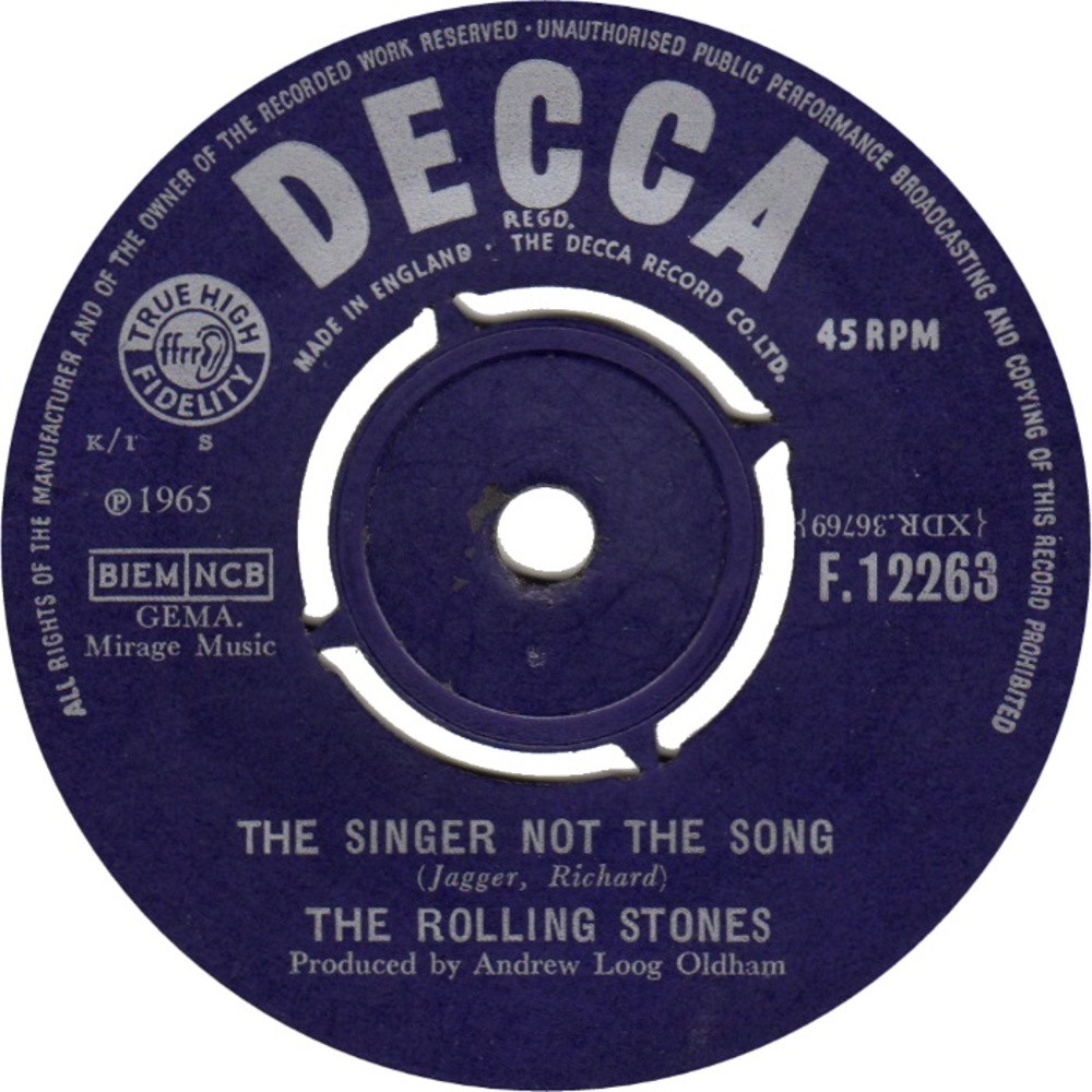 The Rolling Stones - Get Off Of My Cloud / The Singer Not The Song (1965) Decca