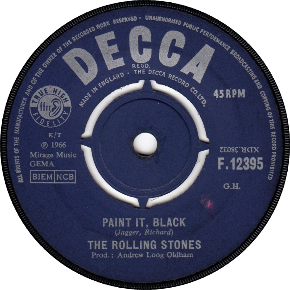 single (UK / Decca) Paint It, Black / 1966