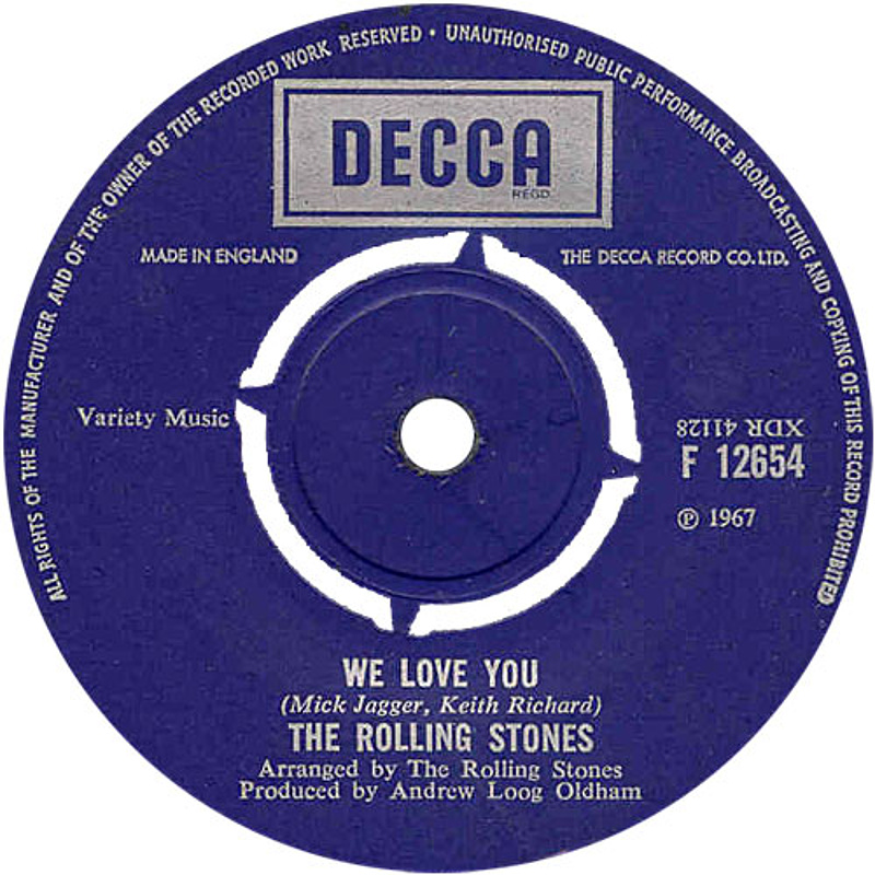 The Rolling Stones - We Love You / Dandelion (UK/Decca) 1967